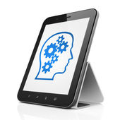 Education concept: Head With Gears on tablet pc computer — Foto Stock