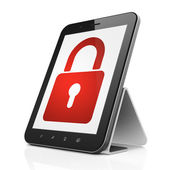 Safety concept: Closed Padlock on tablet pc computer — Stock Photo