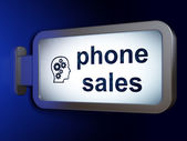 Marketing concept: Phone Sales and Head With Gears on billboard — Stock Photo