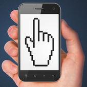 Web development concept: Mouse Cursor on smartphone — Stock Photo