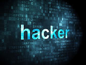 Privacy concept: Hacker on digital background — Stock Photo