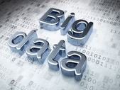 Information concept: Silver Big Data on digital background — Stock Photo