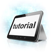 Education concept: Tutorial on tablet pc computer — Stockfoto