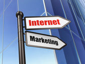 Advertising concept: Internet Marketing on Building background — Stock Photo