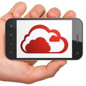 Cloud networking concept: Cloud on smartphone — Fotografia Stock