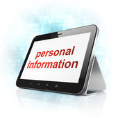 Protection concept: Personal Information on tablet pc computer — Stock Photo