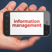 Information concept: Information Management on smartphone — Stock Photo