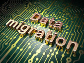 Information concept: Data Migration on circuit board background — Stock Photo