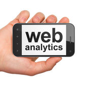 SEO web development concept: Web Analytics on smartphone — Stock Photo