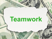 Business concept: Teamwork on Money background — Stockfoto