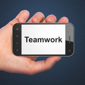 Business concept: Teamwork on smartphone — 图库照片