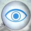 Privacy concept:  Eye with optical glass on digital background — Foto Stock