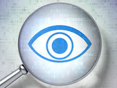 Privacy concept: Eye with optical glass on digital background — Stock Photo