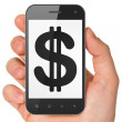 Foto Stock: Currency concept: Dollar on smartphone