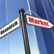 Advertising concept: Market Research on Building background — Foto Stock