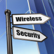 图库照片: Security concept: Wireless Security on Building background
