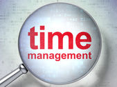 Timeline concept: Time Management with optical glass — Stock Photo