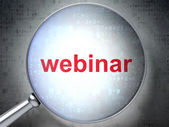 Education concept: Webinar with optical glass — Stock Photo