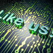 Social media concept: Like us! on circuit board background — Stock Photo