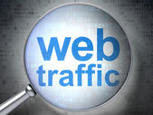 SEO web development concept: Web Traffic with optical glass — Foto Stock