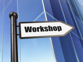 Education concept: Workshop on Building background — Stock Photo