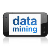 Information concept: Data Mining on smartphone — Stock Photo