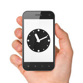 Timeline concept: Clock on smartphone — 图库照片