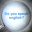 Education concept: Do you speak English? with optical glass — Stock Photo
