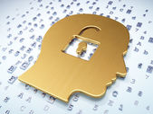 Finance concept: Golden Head With Padlock on digital background — Stock Photo
