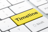 Time concept: Timeline on computer keyboard background — Stok fotoğraf