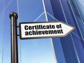 Utbildning koncept: intyg om prestationen på byggnaden bakgrunds — Stockfoto