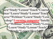 Education concept: Learning Computer on Money background — Zdjęcie stockowe