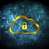 Cloud computing concept: Cloud With Padlock on digital backgroun — Stock Photo