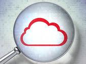 Cloud computing concept: Cloud with optical glass on digital ba — Zdjęcie stockowe