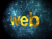 Conceito de desenvolvimento seo web: Web sobre fundo digital — Fotografia Stock