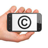 Law concept: Copyright on smartphone — Stock Photo
