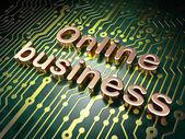 Notion de finance : commerce en ligne sur fond de carte de circuit imprimé — Photo