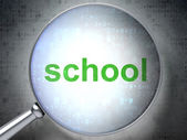 Education concept: School with optical glass — Stock Photo