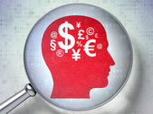 Education concept: Head With Finance Symbol with optical glass — Stock Photo