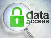 Data concept: Closed Padlock and Data Access with optical glass — Stock Photo
