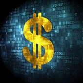 концепция валюты: доллар на фоне цифровой — Стоковое фото