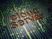 Cloud computing concept: Cloud Server on circuit board backgroun — Stockfoto