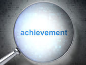 Education concept: Achievement with optical glass — Stock Photo