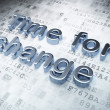 Time concept: Silver Time for Change on digital background — Stock fotografie
