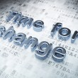 Time concept: Silver Time for Change on digital background — Stok fotoğraf