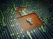 Data concept: Opened Padlock on circuit board background — Stock Photo