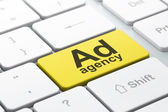 Advertising concept: Ad Agency on computer keyboard background — Stockfoto