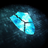 Privacy concept: Broken Shield on digital background — Stock Photo