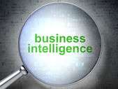 Business concept: Business Intelligence with optical glass — Stock Photo