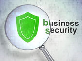Privacy concept: Shield and Business Security with optical glass — Stock Photo